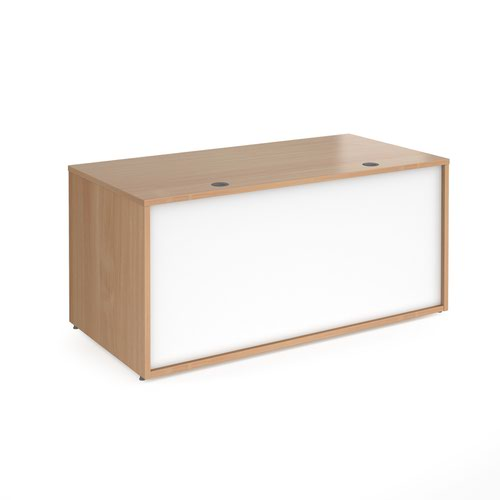 Denver reception straight base unit 1600mm - beech with white panels