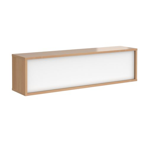 Denver reception straight top unit 1600mm - beech with white panels