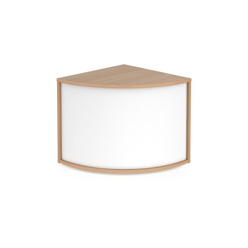 Denver reception 90° corner base unit 800mm - beech with white panels