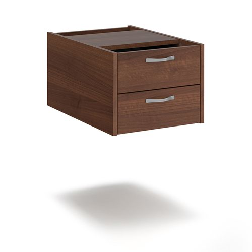 Maestro 25 shallow 2 drawer fixed pedestal for 600mm deep desks - walnut