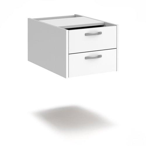 Maestro 25 shallow 2 drawer fixed pedestal for 600mm deep desks - white
