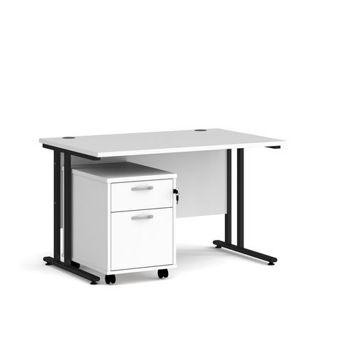 Maestro 25 straight desk 1200mm x 800mm with black cantilever frame and 2 drawer pedestal - white