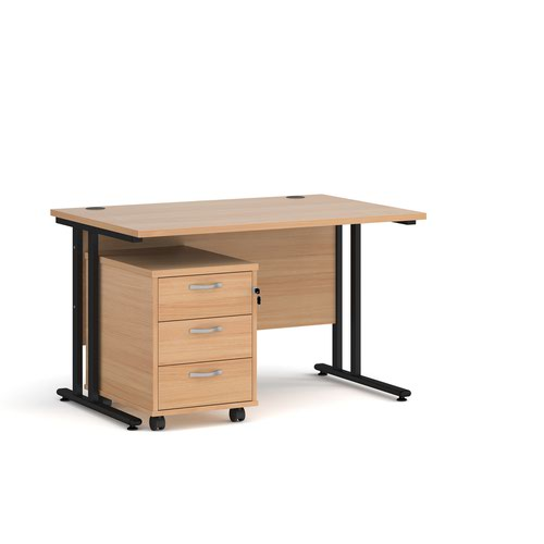 Maestro 25 straight desk 1200mm x 800mm with black cantilever frame and 3 drawer pedestal - beech