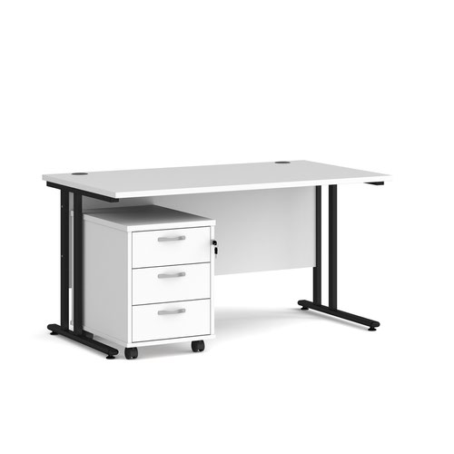 Maestro 25 straight desk 1400mm x 800mm with black cantilever frame and 3 drawer pedestal - white