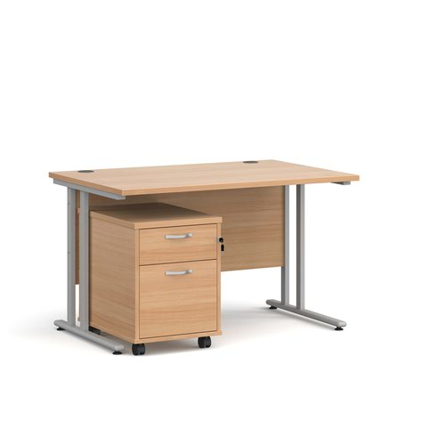 Maestro 25 straight desk 1200mm x 800mm with silver cantilever frame and 2 drawer pedestal - beech