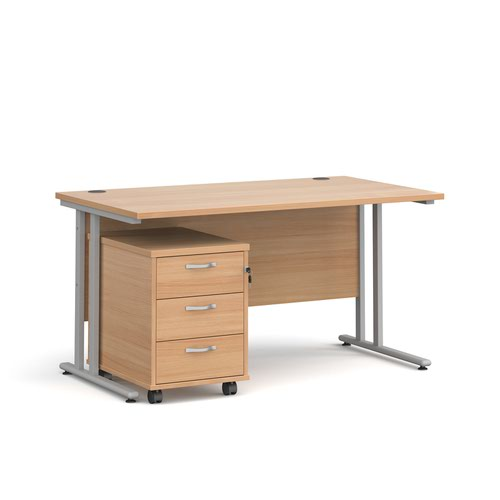 Maestro 25 straight desk 1400mm x 800mm with silver cantilever frame and 3 drawer pedestal - beech