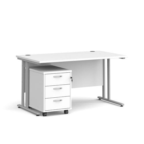 Maestro 25 straight desk 1400mm x 800mm with silver cantilever frame and 3 drawer pedestal - white