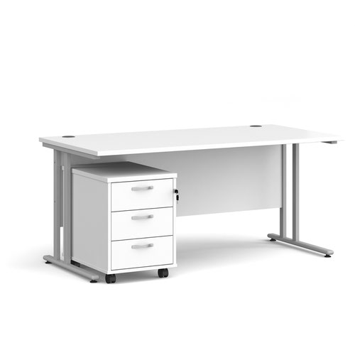 Maestro 25 SL straight desk 1800mm x 800mm with silver cantilever frame and 3 drawer pedestal - white