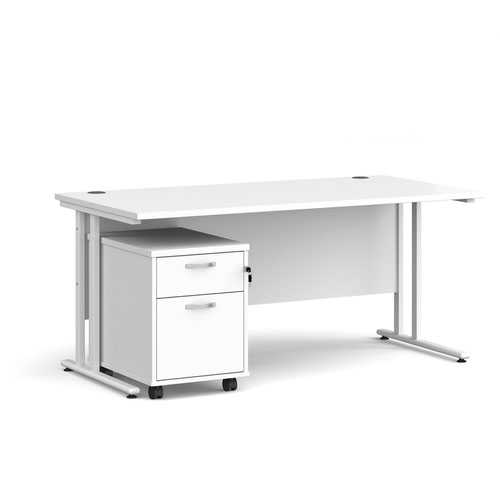 Maestro 25 straight desk 1600mm x 800mm with white cantilever frame and 2 drawer pedestal - white