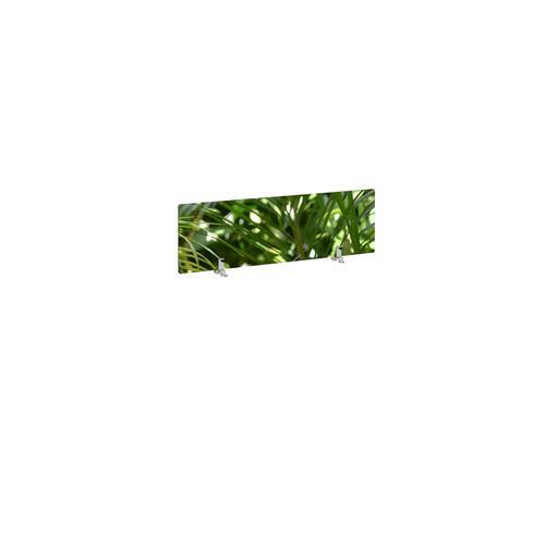 Desktop printed screen topper with brackets 1000mm wide - plant design