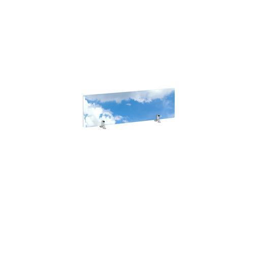 Desktop printed screen topper with brackets 1000mm wide - sky design