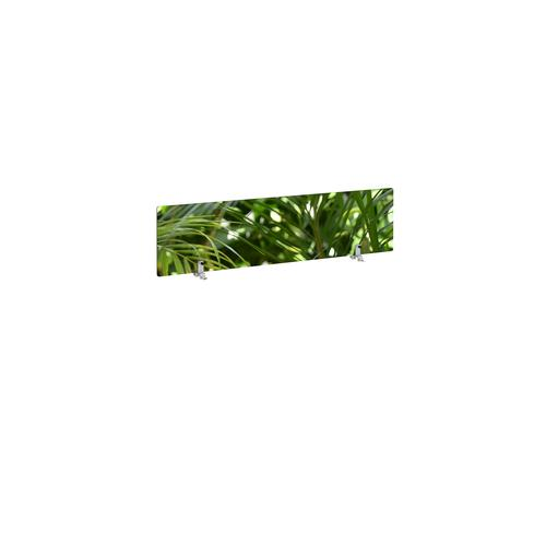 Desktop printed screen topper with brackets 1200mm wide - plant design