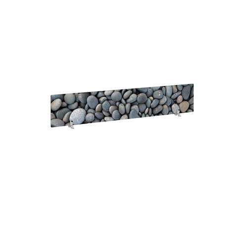 Desktop printed screen topper with brackets 1600mm wide - pebble design