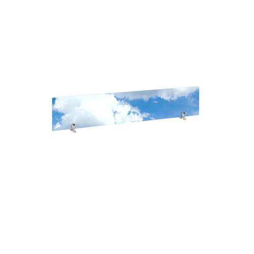 Desktop printed screen topper with brackets 1600mm wide - sky design