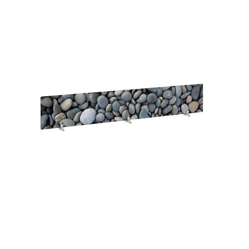 Desktop printed screen topper with brackets 1800mm wide - pebble design