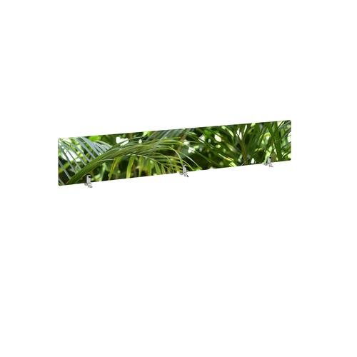 Desktop printed screen topper with brackets 1800mm wide - plant design