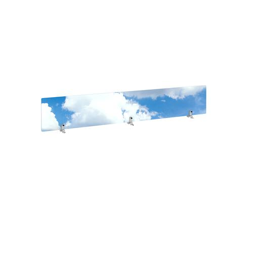 Desktop printed screen topper with brackets 1800mm wide - sky design