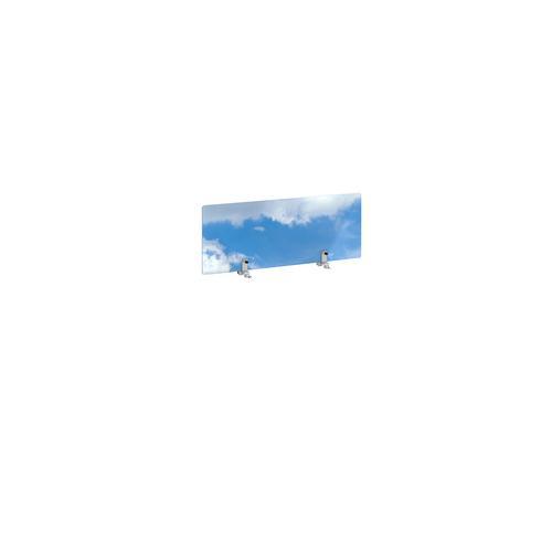 Desktop printed screen topper with brackets 800mm wide - sky design