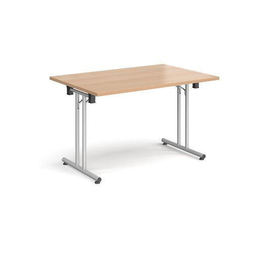Rectangular folding leg table with silver legs and straight foot rails 1200mm x 800mm - beech