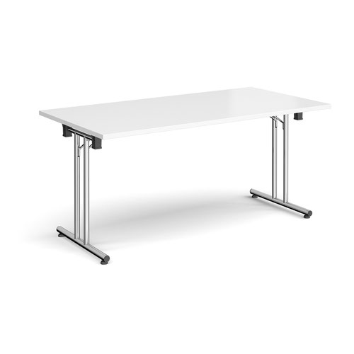 Rectangular folding leg table with chrome legs and straight foot rails 1600mm x 800mm - white