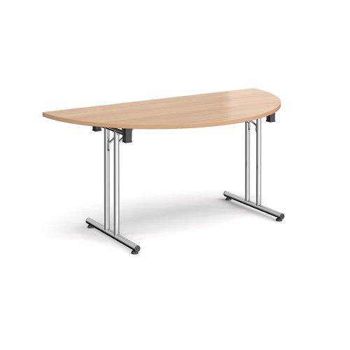 Semi circular folding leg table with chrome legs and straight foot rails 1600mm x 800mm - beech