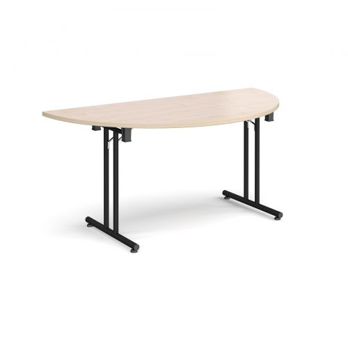 Image for Semi circular folding leg table with black legs and straight foot rails 1600mm x 800mm - maple