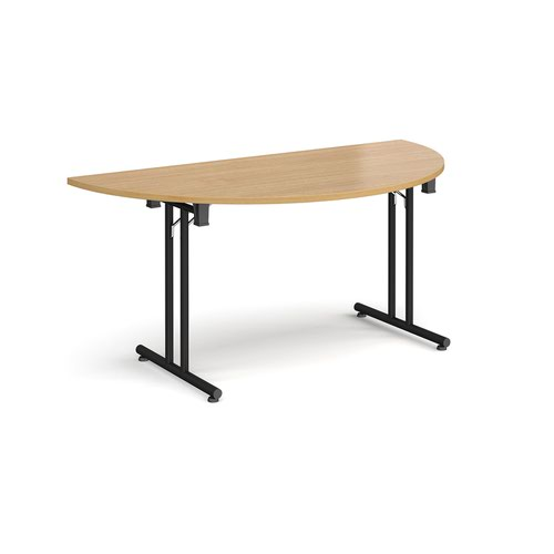 Image for Semi circular folding leg table with black legs and straight foot rails 1600mm x 800mm - oak
