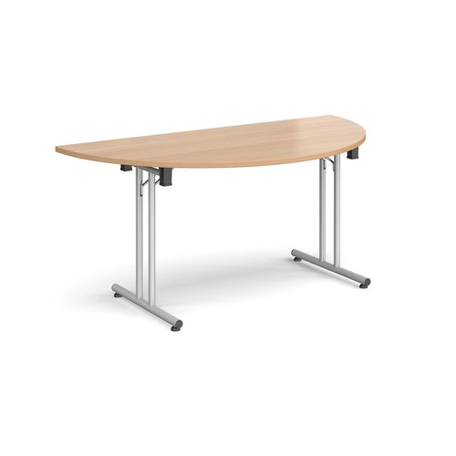 Image for Semi circular folding leg table with silver legs and straight foot rails 1600mm x 800mm - beech