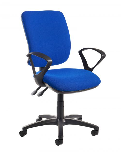 Image for Senza high back operator chair with fixed arms - blue