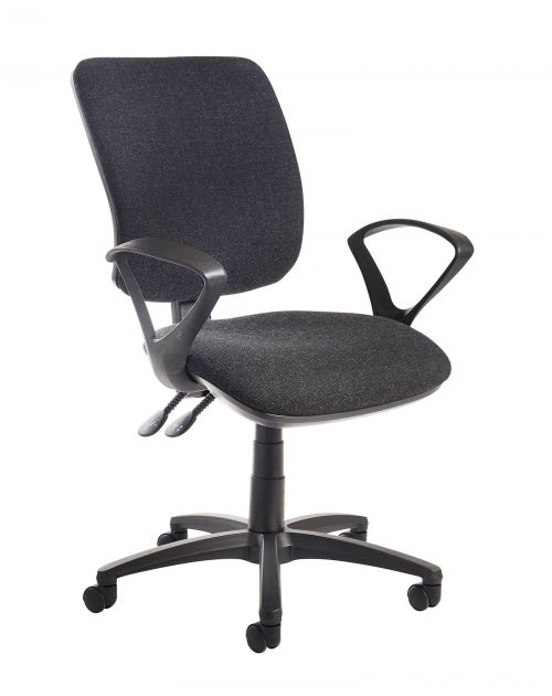Image for Senza high back operator chair with fixed arms - charcoal