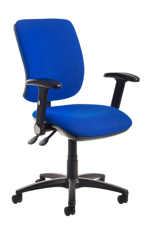 Image for Senza high back operator chair with folding arms - blue