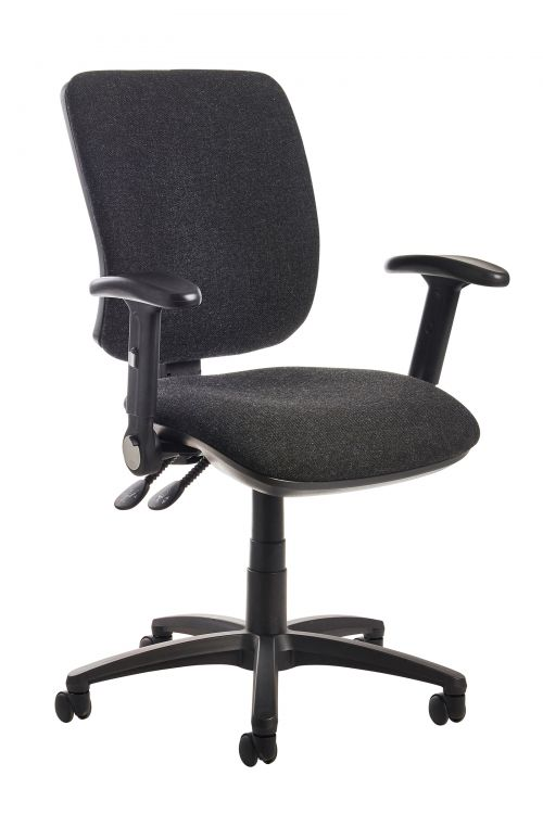 Image for Senza high back operator chair with folding arms - charcoal
