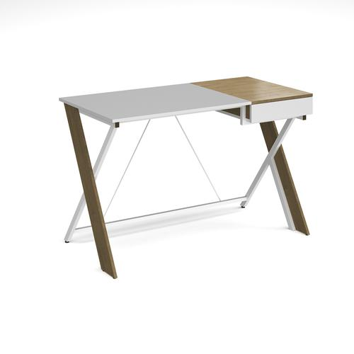 Sidon home office workstation with pull out drawer - English oak with white frame
