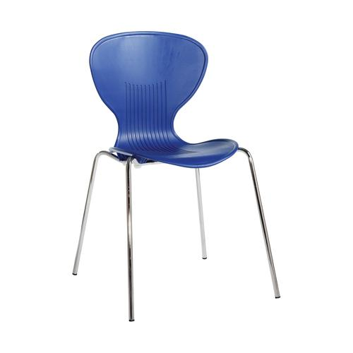 Image for Sienna one piece shell chair with chrome legs (pack of 4) - blue