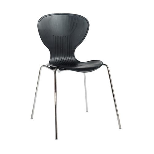 Image for Sienna one piece shell chair with chrome legs (pack of 4) - black