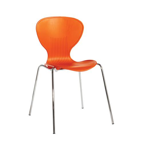 Image for Sienna one piece shell chair with chrome legs (pack of 4) - orange