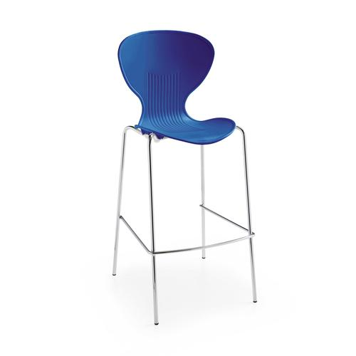 Image for Sienna one piece stool with chrome legs (pack of 2) - blue