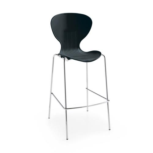 Image for Sienna one piece stool with chrome legs (pack of 2) - black