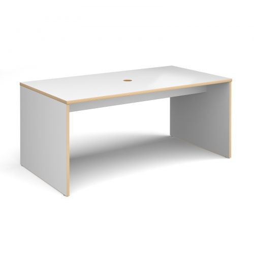 Slab 25 six person table 1700mm x 900mm with 25mm white top and cut out for data module