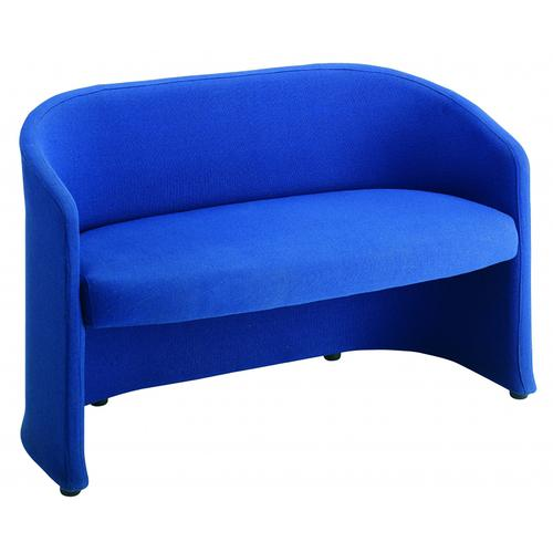 Slender fabric reception double 2 seater chair 1225mm wide - blue