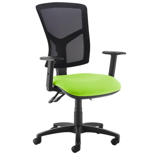 Senza high mesh back operator chair with adjustable arms - green