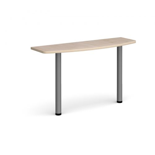 D-end desk extension table 1200mm wide with graphite legs - maple top