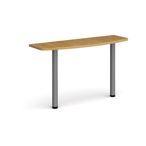 D-end desk extension table 1200mm wide with graphite legs - oak top