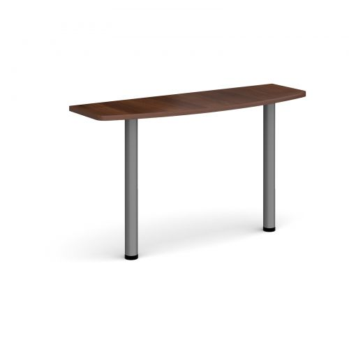 D-end desk extension table 1200mm wide with graphite legs - walnut top