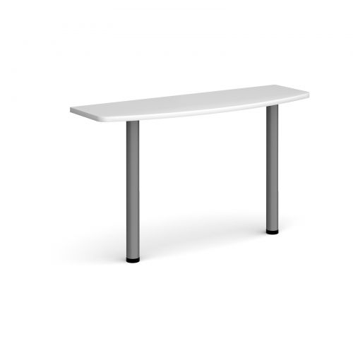 D-end desk extension table 1200mm wide with graphite legs - white top