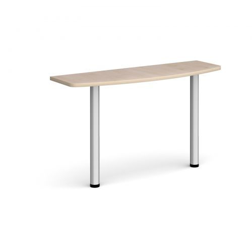 D-end desk extension table 1200mm wide with silver legs - maple top