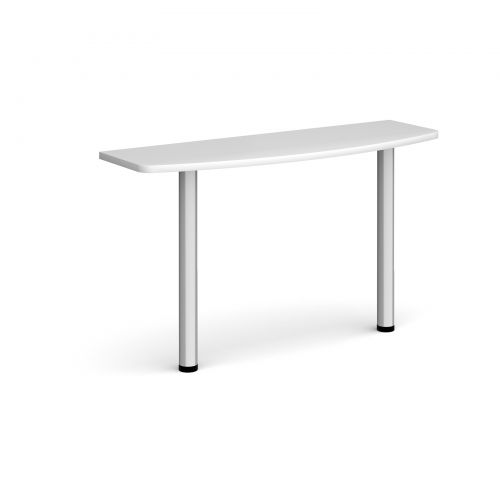 D-end desk extension table 1200mm wide with silver legs - white top