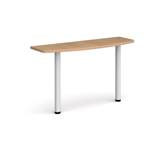 D-end desk extension table 1200mm wide with white legs - beech top