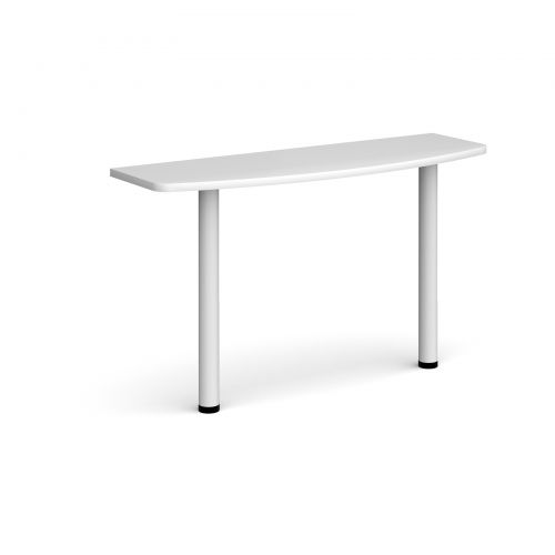 D-end desk extension table 1200mm wide with white legs - white top