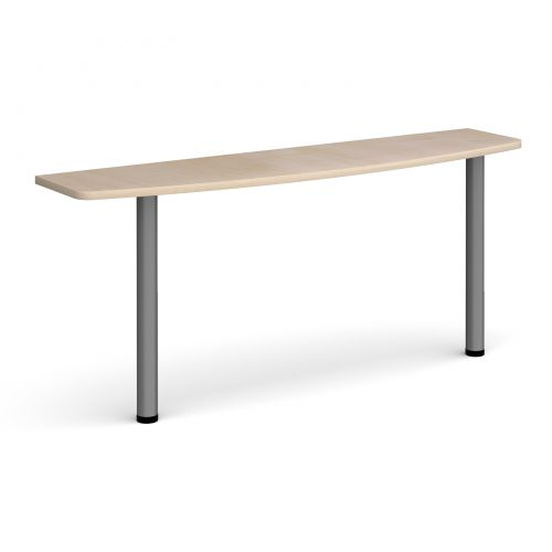 D-end desk extension table 1600mm wide with graphite legs - maple top